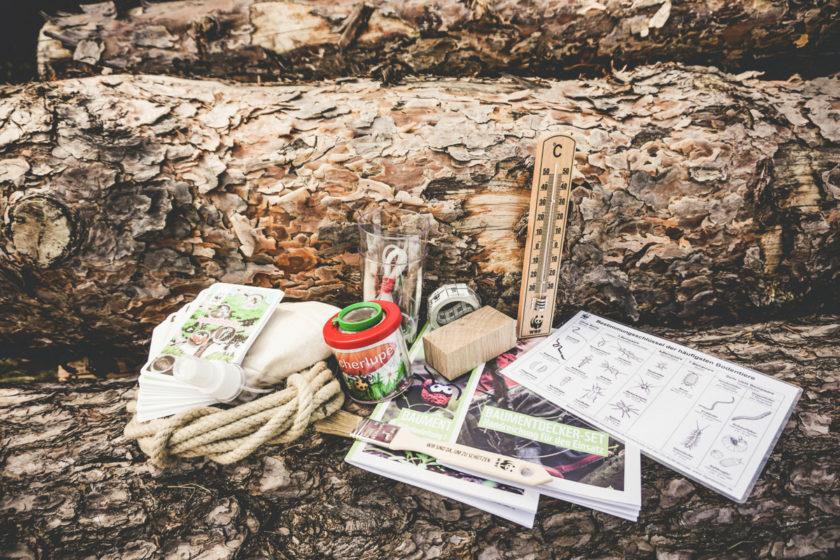 Das Baumentdecker-Set: Seil, Thermometer, Pinsel, Becherlupe, Kartenset uns noch viel mehr.